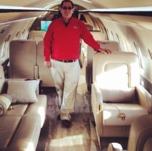 CEO on beautiful private jet